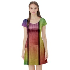 Colourful Wood Painting Short Sleeve Skater Dress