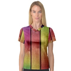 Colourful Wood Painting Women s V-Neck Sport Mesh Tee