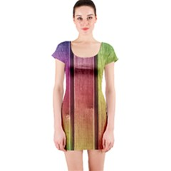 Colourful Wood Painting Short Sleeve Bodycon Dress