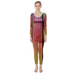 Colourful Wood Painting Long Sleeve Catsuit