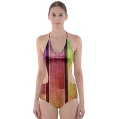 Colourful Wood Painting Cut-Out One Piece Swimsuit