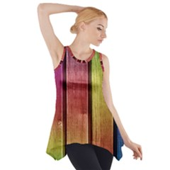 Colourful Wood Painting Side Drop Tank Tunic