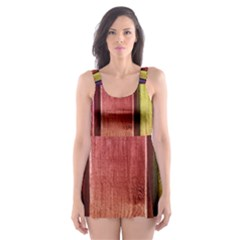 Colourful Wood Painting Skater Dress Swimsuit