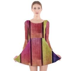 Colourful Wood Painting Long Sleeve Velvet Skater Dress