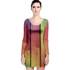Colourful Wood Painting Long Sleeve Velvet Bodycon Dress