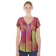 Colourful Wood Painting Short Sleeve Front Detail Top