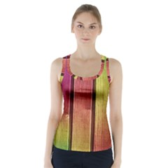 Colourful Wood Painting Racer Back Sports Top