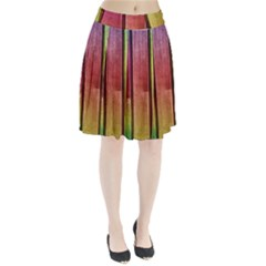 Colourful Wood Painting Pleated Skirt