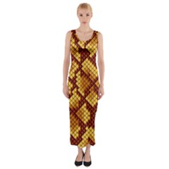 Snake Skin Pattern Vector Fitted Maxi Dress