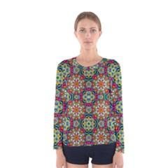 Jewel Tiles Kaleidoscope Women s Long Sleeve Tee