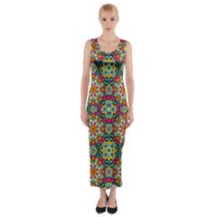 Jewel Tiles Kaleidoscope Fitted Maxi Dress