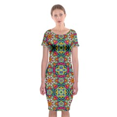 Jewel Tiles Kaleidoscope Classic Short Sleeve Midi Dress