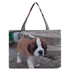 St Bernard Pup Medium Zipper Tote Bag