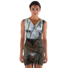 Abondoned House Wrap Front Bodycon Dress