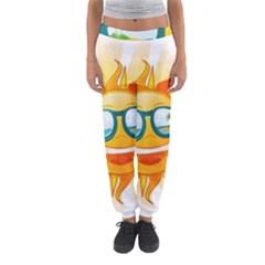 Cartoon Sun Women s Jogger Sweatpants