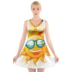 Cartoon Sun V-Neck Sleeveless Skater Dress