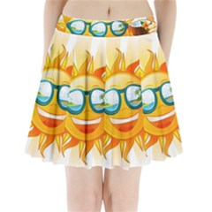 Cartoon Sun Pleated Mini Skirt
