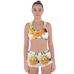Cartoon Sun Racerback Boyleg Bikini Set