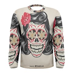 Woman Sugar Skull Men s Long Sleeve Tee