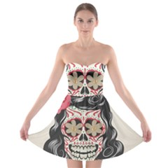 Woman Sugar Skull Strapless Bra Top Dress