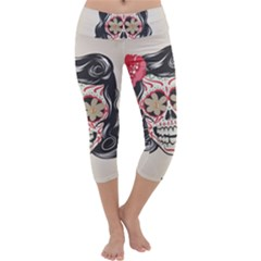 Woman Sugar Skull Capri Yoga Leggings