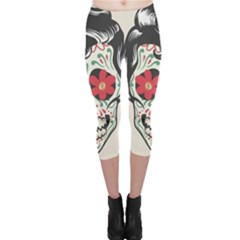 Man Sugar Skull Capri Leggings