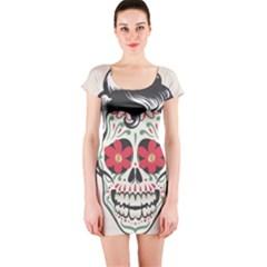 Man Sugar Skull Short Sleeve Bodycon Dress