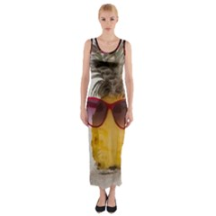 Pineapple With Sunglasses Fitted Maxi Dress