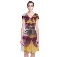 Pineapple With Sunglasses Short Sleeve Front Wrap Dress