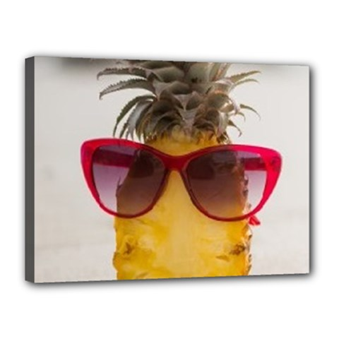 Pineapple With Sunglasses Canvas 16  x 12