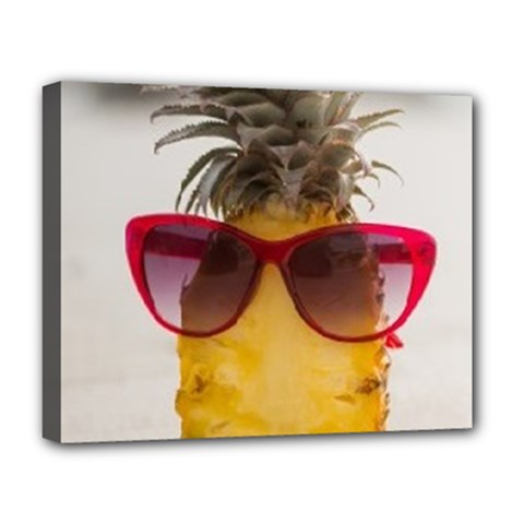 Pineapple With Sunglasses Deluxe Canvas 20  x 16