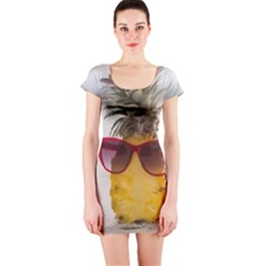 Pineapple With Sunglasses Short Sleeve Bodycon Dress