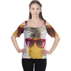 Pineapple With Sunglasses Women s Cutout Shoulder Tee
