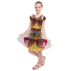 Pineapple With Sunglasses Kids  Short Sleeve Dress