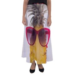 Pineapple With Sunglasses Flared Maxi Skirt