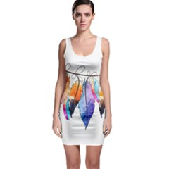 Watercolor Feathers Sleeveless Bodycon Dress