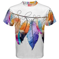Watercolor Feathers Men s Cotton Tee
