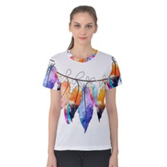 Watercolor Feathers Women s Cotton Tee