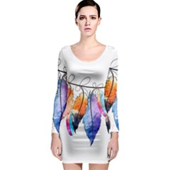 Watercolor Feathers Long Sleeve Bodycon Dress