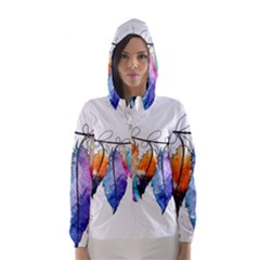 Watercolor Feathers Hooded Wind Breaker (Women)