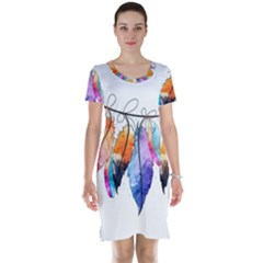 Watercolor Feathers Short Sleeve Nightdress