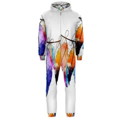 Watercolor Feathers Hooded Jumpsuit (Men)