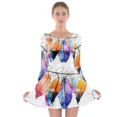 Watercolor Feathers Long Sleeve Skater Dress