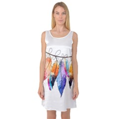 Watercolor Feathers Sleeveless Satin Nightdress