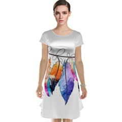 Watercolor Feathers Cap Sleeve Nightdress