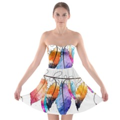 Watercolor Feathers Strapless Bra Top Dress