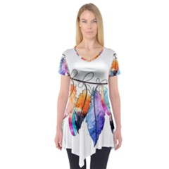 Watercolor Feathers Short Sleeve Tunic