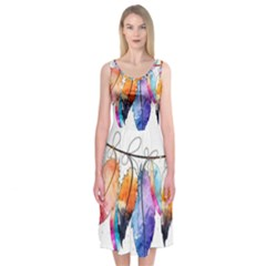 Watercolor Feathers Midi Sleeveless Dress