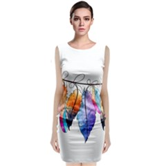 Watercolor Feathers Classic Sleeveless Midi Dress