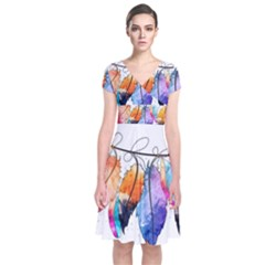 Watercolor Feathers Short Sleeve Front Wrap Dress